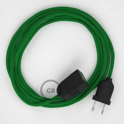 Prolunga elettrica con cavo tessile RM06 Effetto Seta Verde 2P 10A Made in Italy.