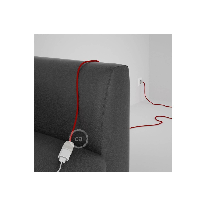 Prolunga elettrica con cavo tessile RM09 Effetto Seta Rosso 2P 10A Made in Italy.