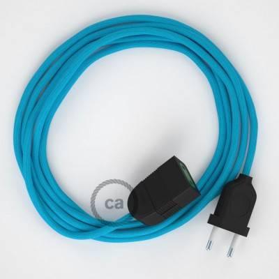 Prolunga elettrica con cavo tessile RM11 Effetto Seta Azzurro 2P 10A Made in Italy.