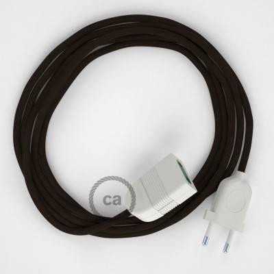 Prolunga elettrica con cavo tessile RM13 Effetto Seta Marrone 2P 10A Made in Italy.
