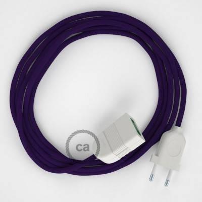Prolunga elettrica con cavo tessile RM14 Effetto Seta Viola 2P 10A Made in Italy.