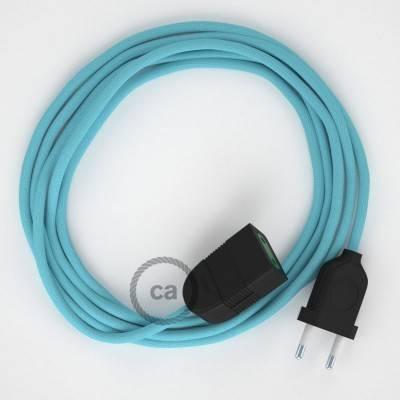 Prolunga elettrica con cavo tessile RM17 Effetto Seta Azzurro Baby 2P 10A Made in Italy.