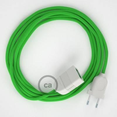 Prolunga elettrica con cavo tessile RM18 Effetto Seta Verde Lime 2P 10A Made in Italy.