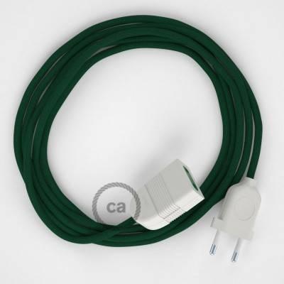 Prolunga elettrica con cavo tessile RM21 Effetto Seta Verde Scuro 2P 10A Made in Italy.