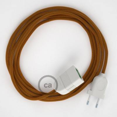 Prolunga elettrica con cavo tessile RM22 Effetto Seta Whiskey 2P 10A Made in Italy.