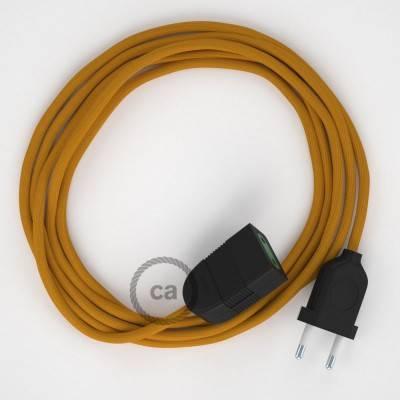 Prolunga elettrica con cavo tessile RM25 Effetto Seta Senape 2P 10A Made in Italy.