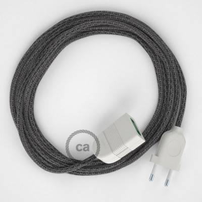 Prolunga elettrica con cavo tessile RS81 Cotone e Lino Naturale Nero 2P 10A Made in Italy.