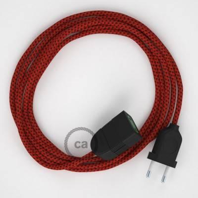 Prolunga elettrica con cavo tessile RT94 Effetto Seta Red Devil 2P 10A Made in Italy.