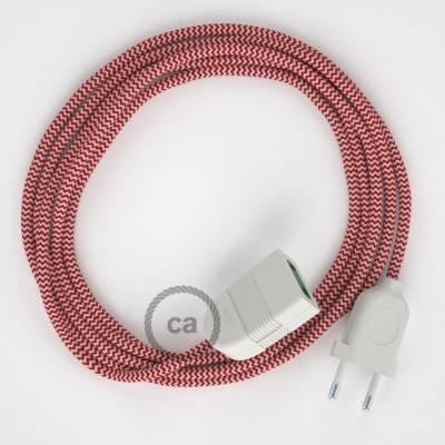 Prolunga elettrica con cavo tessile RZ09 Effetto Seta ZigZag Rosso 2P 10A Made in Italy.