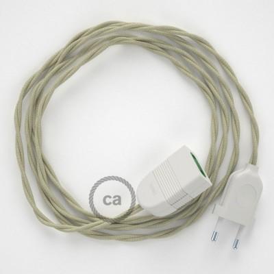 Prolunga elettrica con cavo tessile TC43 Cotone Tortora 2P 10A Made in Italy.