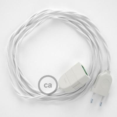 Prolunga elettrica con cavo tessile TM01 Effetto Seta Bianco 2P 10A Made in Italy.