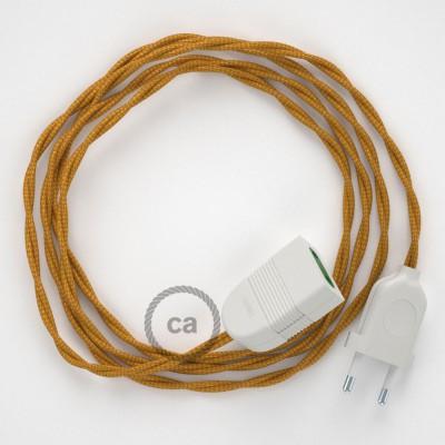 Prolunga elettrica con cavo tessile TM05 Effetto Seta Oro 2P 10A Made in Italy.