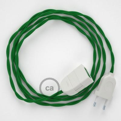 Prolunga elettrica con cavo tessile TM06 Effetto Seta Verde 2P 10A Made in Italy.