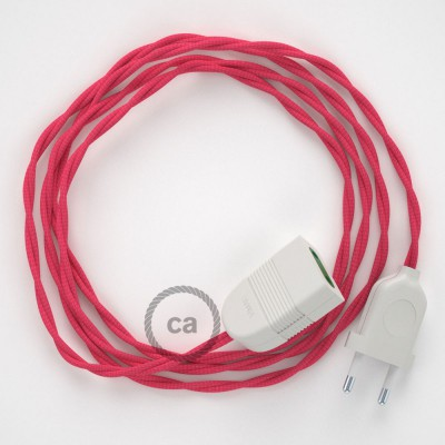 Prolunga elettrica con cavo tessile TM08 Effetto Seta Fucsia 2P 10A Made in Italy.