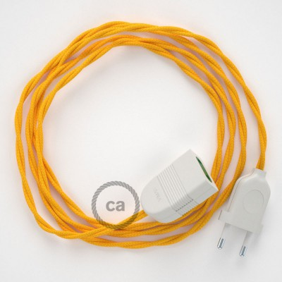 Prolunga elettrica con cavo tessile TM10 Effetto Seta Giallo 2P 10A Made in Italy.