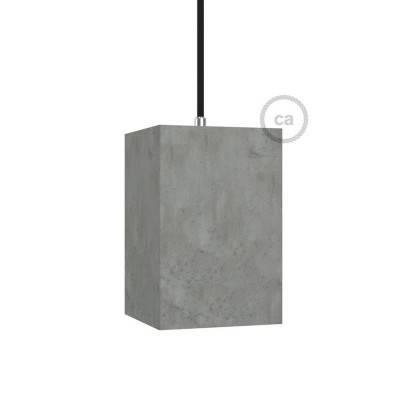 Paralume in cemento Cubo completo di serracavo e portalampada E27