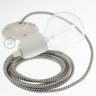 Pendel in porcellana, lampada sospensione cavo tessile 3D Stracciatella RT14