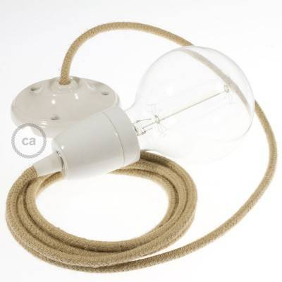 Pendel in porcellana, lampada sospensione cavo tessile Juta RN06