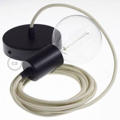 Pendel singolo, lampada sospensione cavo tessile Effetto Seta Avorio RM00