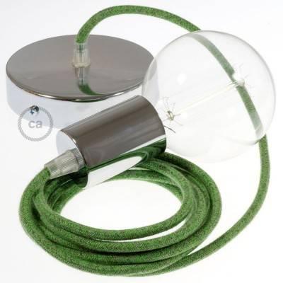 Pendel singolo, lampada sospensione cavo tessile Cotone Bronte RX08
