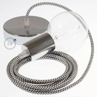 Pendel singolo, lampada sospensione cavo tessile 3D Stracciatella RT14