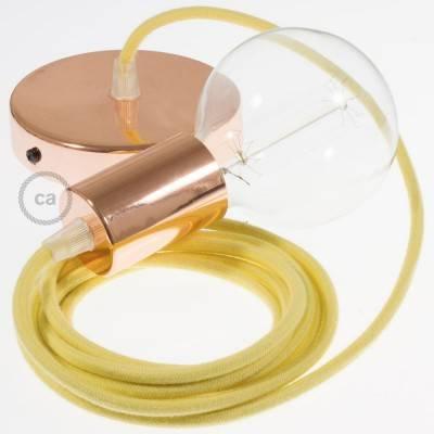 Pendel singolo, lampada sospensione cavo tessile Cotone Giallo Pastello RC10