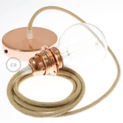 Pendel per paralume, lampada sospensione cavo tessile Juta RN06