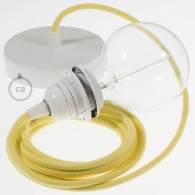 Pendel per paralume, lampada sospensione cavo tessile Cotone Giallo Pastello RC10