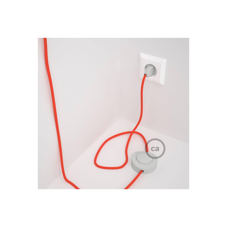 Cablaggio per piantana, cavo RF15 Effetto Seta Arancione Fluo 3 m. Scegli il colore dell'interruttore e della spina.