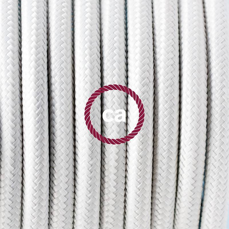 Cablaggio per piantana, cavo RM01 Effetto Seta Bianco 3 m. Scegli il colore dell'interruttore e della spina.