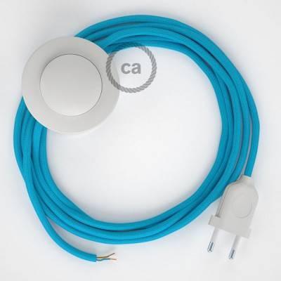Cablaggio per piantana, cavo RM11 Effetto Seta Azzurro 3 m. Scegli il colore dell'interruttore e della spina.