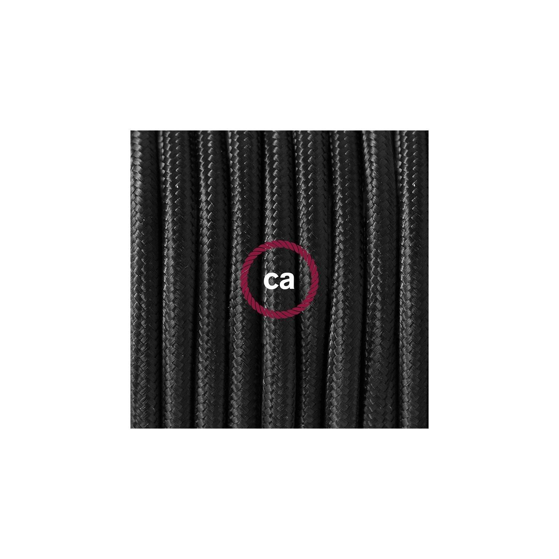 Cablaggio per piantana, cavo RM04 Effetto Seta Nero 3 m. Scegli il colore dell'interruttore e della spina.