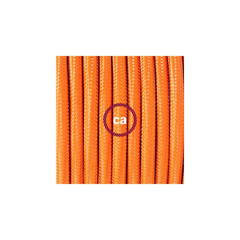 Cablaggio per piantana, cavo RM15 Effetto Seta Arancione 3 m. Scegli il colore dell'interruttore e della spina.