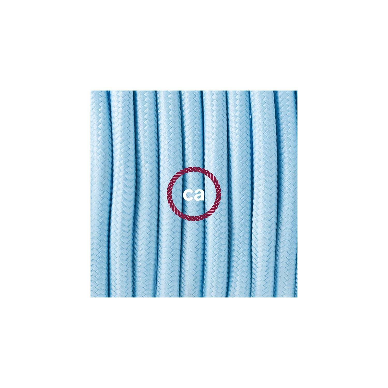 Cablaggio per piantana, cavo RM17 Effetto Seta Azzurro Baby 3 m. Scegli il colore dell'interruttore e della spina.