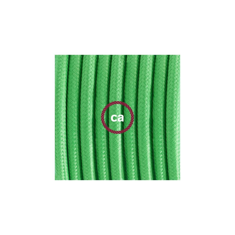 Cablaggio per piantana, cavo RM18 Effetto Seta Verde Lime 3 m. Scegli il colore dell'interruttore e della spina.