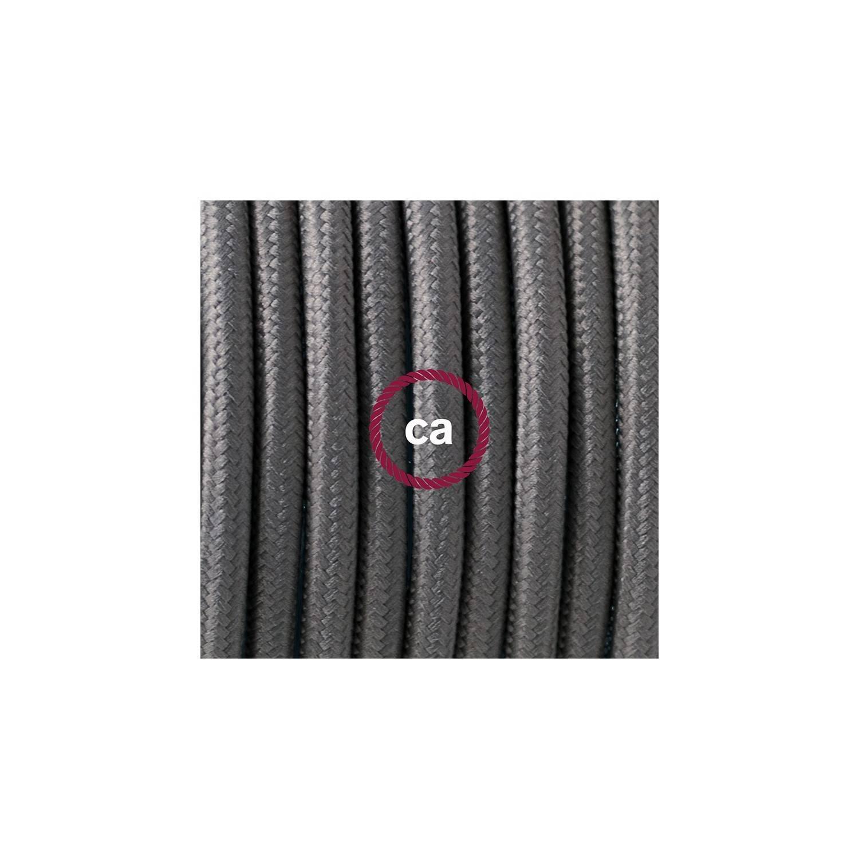 Cablaggio per piantana, cavo RM03 Effetto Seta Grigio 3 m. Scegli il colore dell'interruttore e della spina.