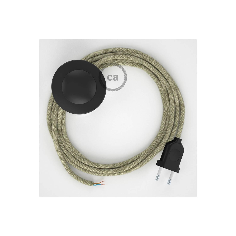 Cablaggio per piantana, cavo RN01 Lino Naturale Neutro 3 m. Scegli il colore dell'interruttore e della spina.