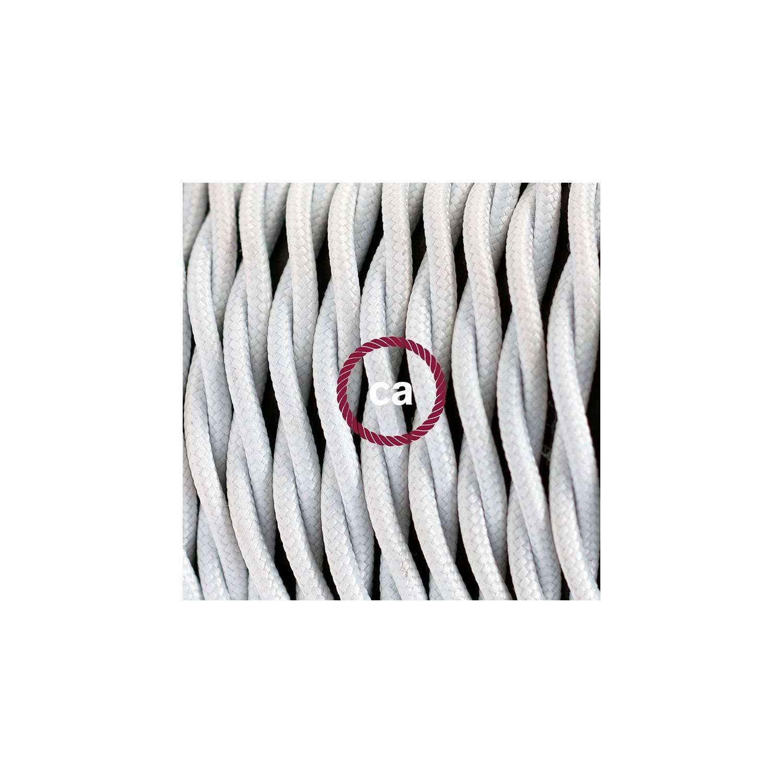 Cablaggio per piantana, cavo TM01 Effetto Seta Bianco 3 m. Scegli il colore dell'interruttore e della spina.