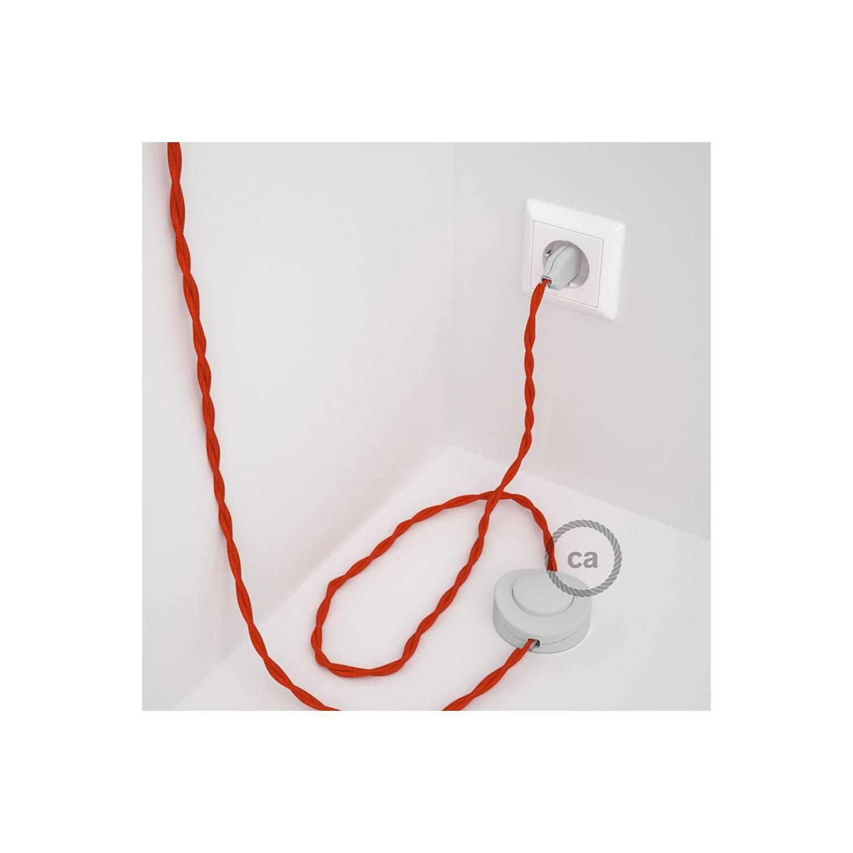 Cablaggio per piantana, cavo TM15 Effetto Seta Arancione 3 m. Scegli il colore dell'interruttore e della spina.