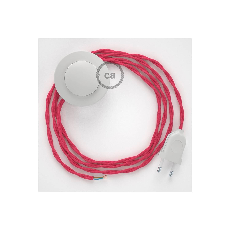 Cablaggio per piantana, cavo TM08 Effetto Seta Fucsia 3 m. Scegli il colore dell'interruttore e della spina.