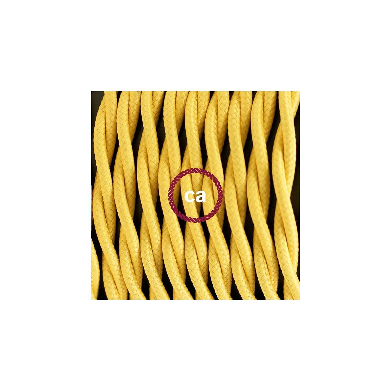 Cablaggio per piantana, cavo TM10 Effetto Seta Giallo 3 m. Scegli il colore dell'interruttore e della spina.