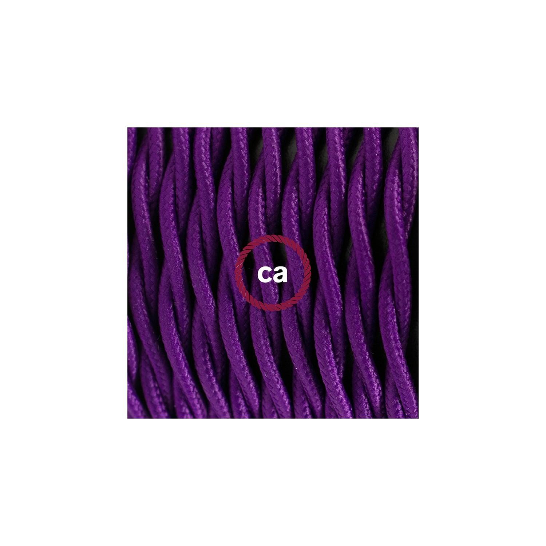 Cablaggio per piantana, cavo TM14 Effetto Seta Viola 3 m. Scegli il colore dell'interruttore e della spina.