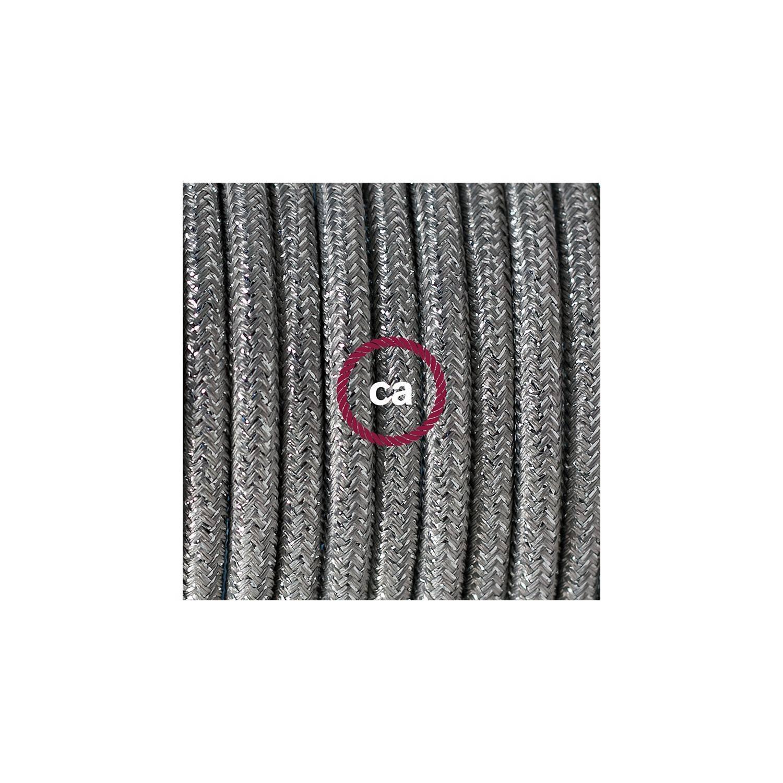 Cablaggio per piantana, cavo RL02 Effetto Seta Glitterato Argento 3 m. Scegli il colore dell'interruttore e della spina.