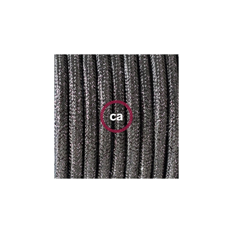 Cablaggio per piantana, cavo RL03 Effetto Seta Glitterato Grigio 3 m. Scegli il colore dell'interruttore e della spina.