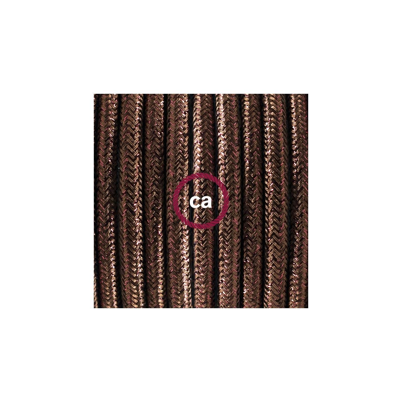 Cablaggio per piantana, cavo RL13 Effetto Seta Glitterato Marrone 3 m. Scegli il colore dell'interruttore e della spina.