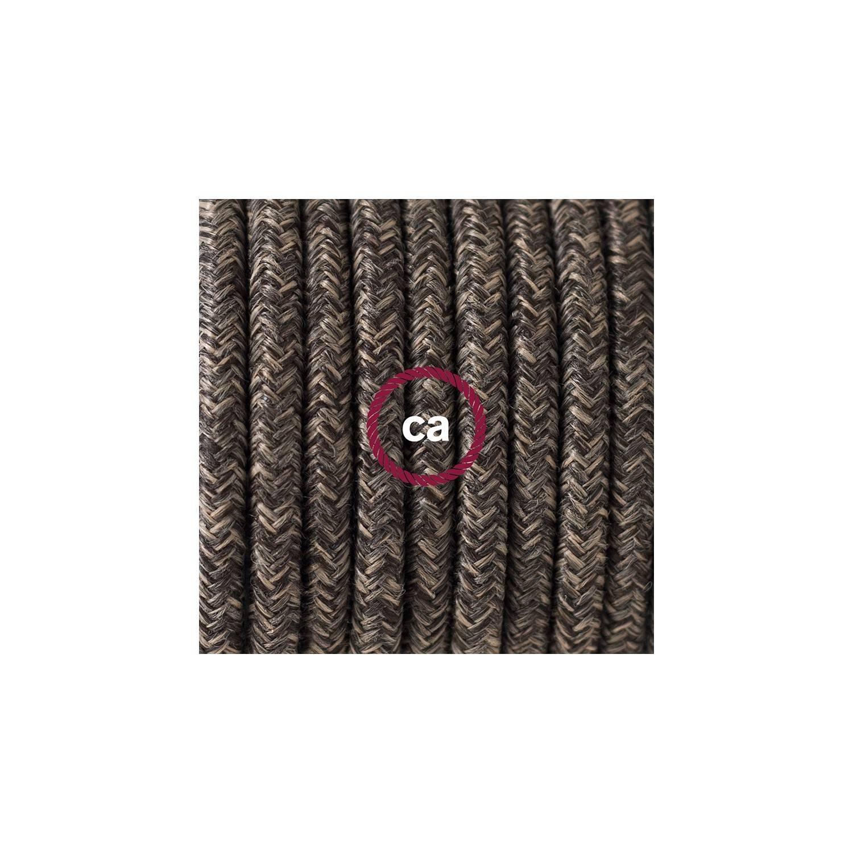 Cablaggio per piantana, cavo RN04 Lino Naturale Marrone 3 m. Scegli il colore dell'interruttore e della spina.