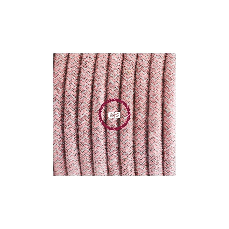 Cablaggio per piantana, cavo RD71 Cotone e Lino ZigZag Rosa Antico 3 m. Scegli il colore dell'interruttore e della spina.