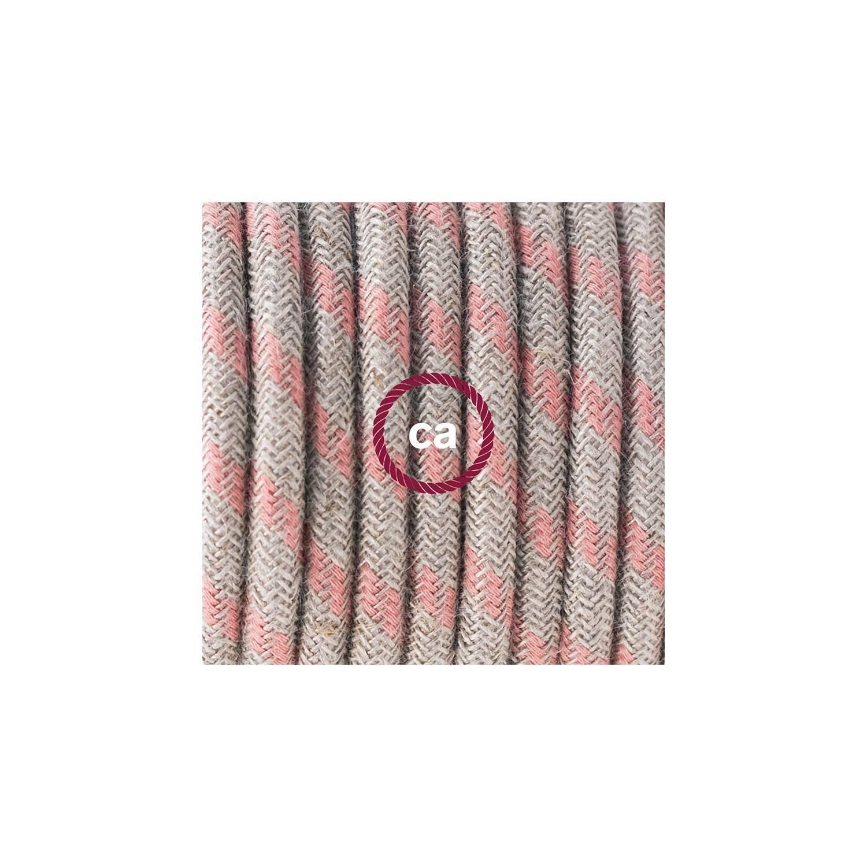 Cablaggio per piantana, cavo RD51 Cotone e Lino Stripes Rosa Antico 3 m. Scegli il colore dell'interruttore e della spina.