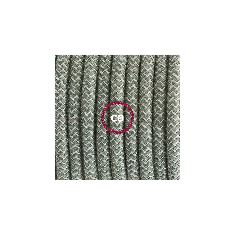 Cablaggio per piantana, cavo RD72 Cotone e Lino Naturale ZigZag Verde Timo 3 m. Scegli il colore dell'interruttore e della spina