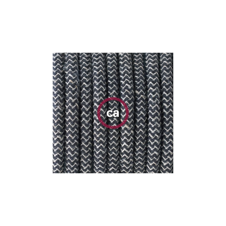 Cablaggio per piantana, cavo RD74 Cotone e Lino Naturale ZigZag Antracite 3 m. Scegli il colore dell'interruttore e della spina.